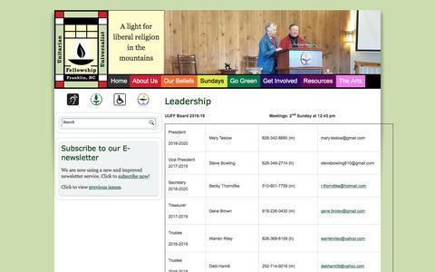 Screenshot of Team Page uufranklin.org - Leadership | Unitarian Universalist Fellowship of Franklin, NC - captured July 2, 2018