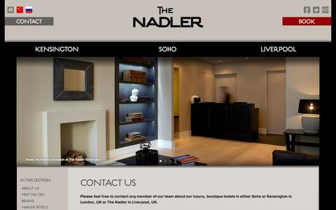 Screenshot of Contact Page thenadler.com - 4 star luxury boutique hotels in London UK | The Nadler - captured Sept. 25, 2014