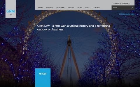 Screenshot of Home Page grm.co.uk - Home | GRM Law London - captured Oct. 1, 2014