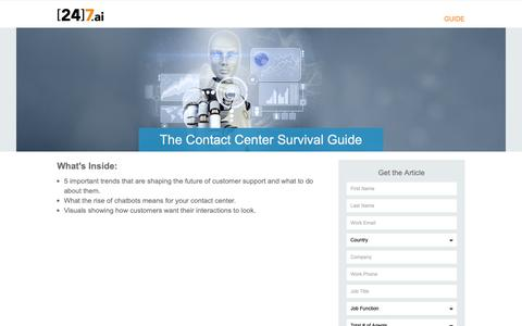 Screenshot of Landing Page 247.ai - The Contact Center Survival Guide - captured Nov. 26, 2018