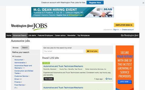 Screenshot of Jobs Page washingtonpost.com - Automotive jobs - captured Oct. 19, 2016