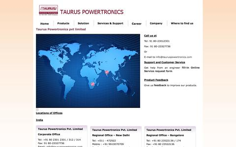 Screenshot of Locations Page tauruspowertronics.com - Taurus Powertronics pvt limited - captured Oct. 26, 2014
