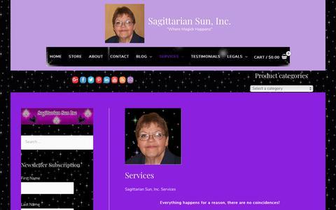 Screenshot of Services Page sagsun.com - Services - Sagittarian Sun, Inc. - captured Oct. 1, 2018