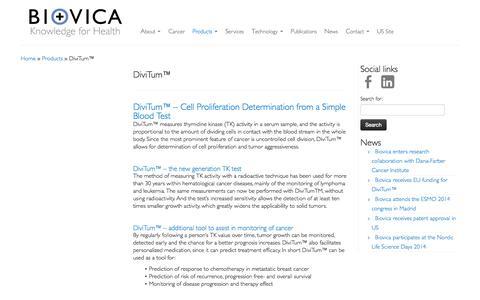 Screenshot of Products Page biovica.com - DiviTum™ - Biovica - captured Nov. 3, 2014
