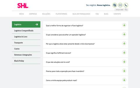 Screenshot of FAQ Page shllogistica.com.br - Dúvidas sobre Logística para e-Commerce - captured Oct. 21, 2018