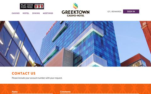 Screenshot of Contact Page greektowncasino.com - Contact Us | Questions & Comments | Greektown Casino - captured Nov. 11, 2018