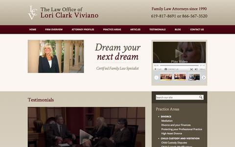 Screenshot of Testimonials Page viviano-law.com - Testimonials | Law Offices of Lori Clark Viviano - captured Oct. 2, 2014
