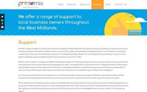 Screenshot of Support Page primemixmarketing.co.uk - Support - Prime Mix Marketing - captured Sept. 29, 2018