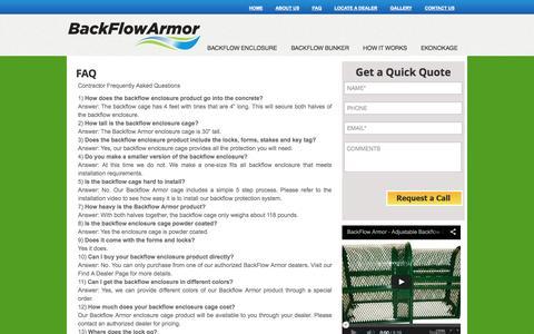 Screenshot of FAQ Page backflowarmor.com - FAQ | Black Flow Armor - captured Oct. 8, 2014