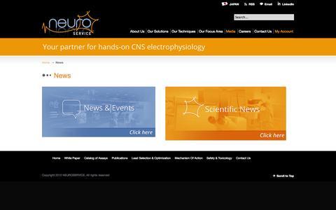 Screenshot of Press Page neuroservice.com - News | Neuroservice - captured Oct. 1, 2014