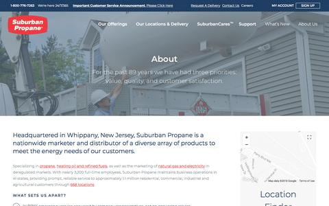 Screenshot of About Page suburbanpropane.com - About | Suburban Propane - captured Jan. 25, 2018