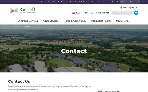 Screenshot of Contact Page bancroft.org - Contacts for NeuroRehab, Children's & Adult Services | Bancroft - captured May 31, 2017
