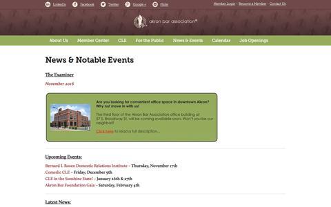 Screenshot of Press Page akronbar.org - News & Notable Events - Akron Bar Association - captured Nov. 20, 2016