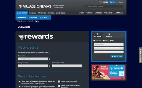 Screenshot of Signup Page villagecinemas.com.au - Vrewards | Village Cinemas - captured June 24, 2017