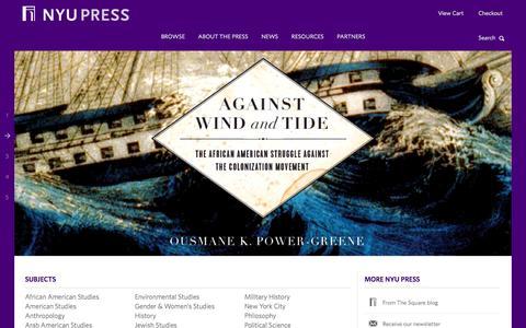 Screenshot of Home Page nyupress.org - NYU Press - captured Oct. 8, 2014