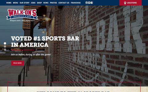 Screenshot of Home Page walk-ons.com - Home | Walk-On's Bistreaux & Bar - captured Aug. 11, 2016