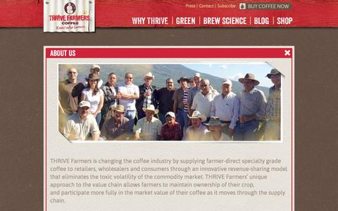 Screenshot of About Page thrivefarmers.com - About Us | THRIVE Farmers Coffee - captured Oct. 9, 2014