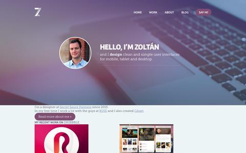 Screenshot of Home Page zoltan.co - Portfolio of Zoltán Hosszú - zoltan.co - captured Sept. 4, 2015
