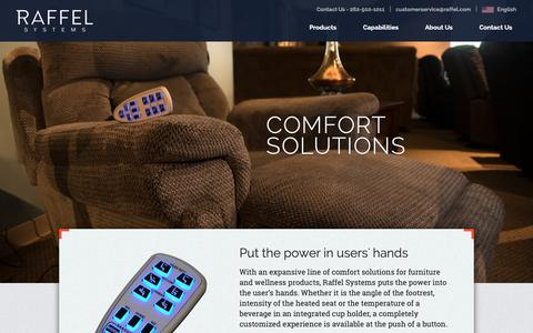 Screenshot of Products Page raffel.com - Comfort Solutions for Furniture & Home   Raffel Systems - captured Oct. 20, 2018