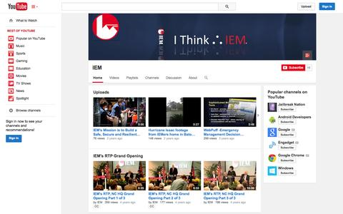 Screenshot of YouTube Page youtube.com - IEM  - YouTube - captured Oct. 23, 2014