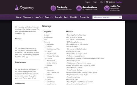 Screenshot of Site Map Page perfumery.com.au - Sitemap - captured Sept. 19, 2014