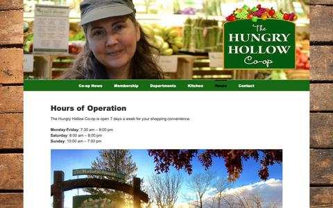 Screenshot of Hours Page hungryhollow.coop - Hours - Hungry Hollow Co-op - captured Sept. 30, 2018