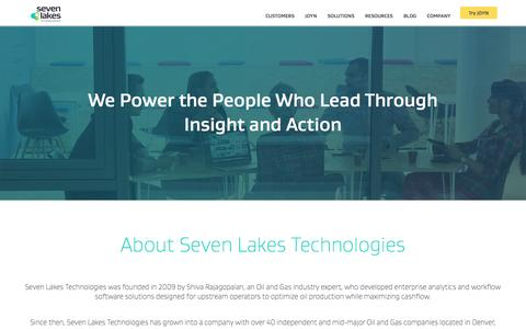 Screenshot of About Page sevenlakes.com - About Seven Lakes Technologies - captured May 27, 2017