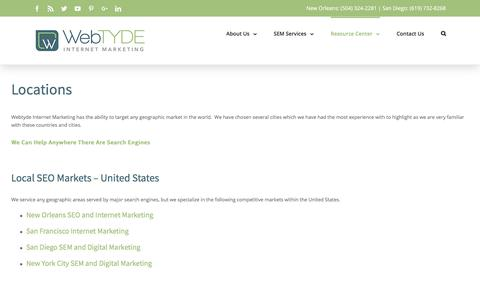 Screenshot of Locations Page webtyde.com - Locations - Local SEO, SEM, and Digital Marketing Experience - captured Oct. 20, 2017