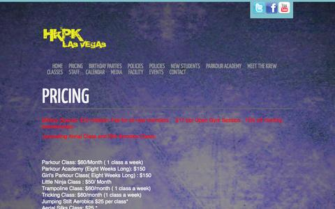 Screenshot of Pricing Page hkpklv.com - Pricing - Hardkore Parkour Las Vegas - captured Oct. 2, 2014