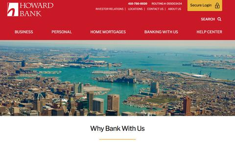 Screenshot of About Page howardbank.com - Why Bank With Us | Howard Bank - captured Sept. 21, 2018
