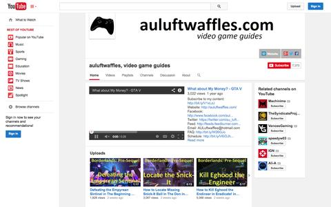 Screenshot of YouTube Page youtube.com - auluftwaffles, video game guides  - YouTube - captured Nov. 2, 2014