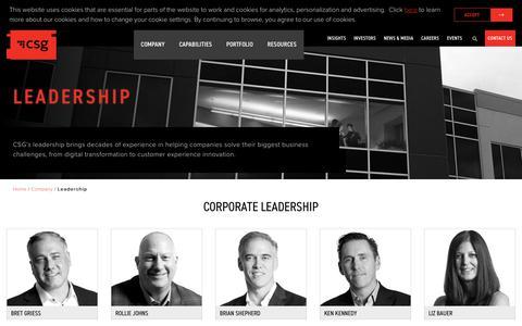 Screenshot of Team Page csgi.com - Leadership - CSG - captured Aug. 8, 2019