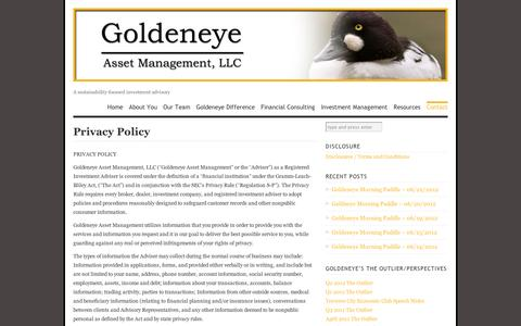 Screenshot of Privacy Page wordpress.com - Privacy Policy | Goldeneye Asset Management - captured Sept. 12, 2014