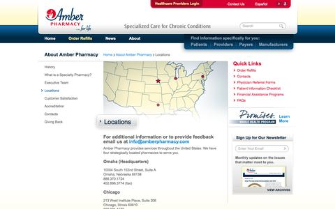 Screenshot of Locations Page amberpharmacy.com - Locations   Amber Pharmacy - captured Sept. 30, 2014