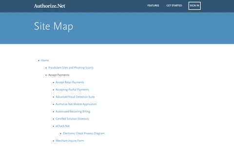 Screenshot of Site Map Page authorize.net - Site Map - Authorize.Net - captured Sept. 19, 2014
