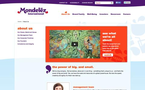 Screenshot of About Page mondelezinternational.com - About Us - captured Sept. 22, 2014
