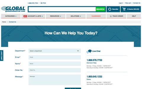 Screenshot of Contact Page globalindustrial.com - GlobalIndustrial.com - Material Handling Equipment|Workbenches|Furniture|Tools|Motors|HVAC - captured Sept. 24, 2019