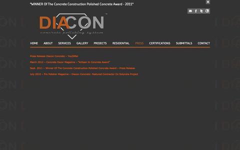 Screenshot of Press Page diaconconcrete.com - Diacon Concrete - captured Oct. 5, 2014