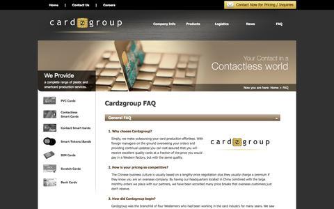 Screenshot of FAQ Page cardzgroup.com - FAQ   Cardzgroup - captured Oct. 22, 2014