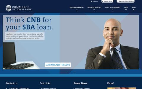Screenshot of Home Page commercenb.com - Commerce National Bank - captured March 28, 2016
