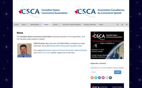 Screenshot of Press Page spacecommerce.ca - News | The Canadian Space Commerce Association - captured Jan. 25, 2016