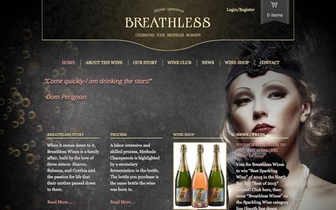 Screenshot of Home Page breathlesswines.com - Breathless Wines - captured Jan. 24, 2015