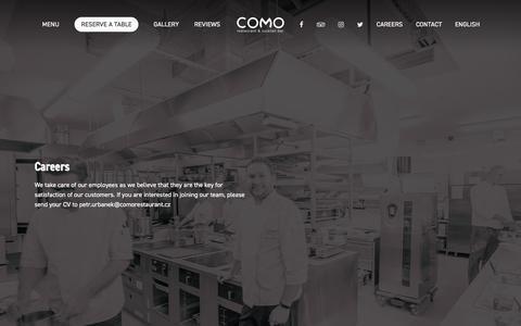 Screenshot of Jobs Page comorestaurant.cz - Careers – COMO restaurant & cocktail bar - captured Nov. 3, 2019