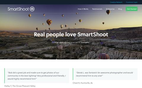 Screenshot of Testimonials Page smartshoot.com - Testimonials - SmartShoot - captured Sept. 12, 2014