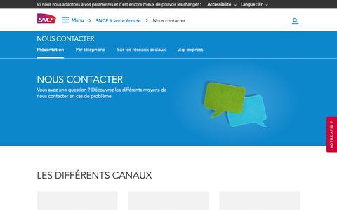 Screenshot of Contact Page sncf.com - Nous contacter : téléphone, réseaux sociaux, Vigi-express | SNCF - captured Oct. 5, 2019