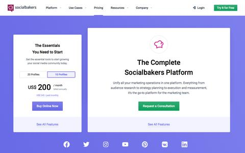 Screenshot of Pricing Page socialbakers.com - Select Your Socialbakers Suite Plan | Socialbakers - captured Sept. 22, 2019