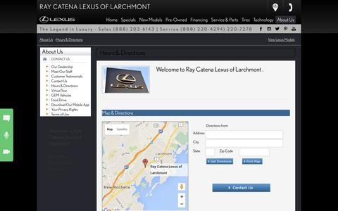 Screenshot of Hours Page raycatenalexus.com - Ray Catena Lexus of Larchmont  - Hours and map, address, directions to our Lexus dealership in Larchmont - captured Feb. 16, 2016