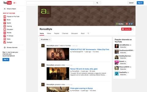 Screenshot of YouTube Page youtube.com - RoncaStyle  - YouTube - captured Oct. 26, 2014
