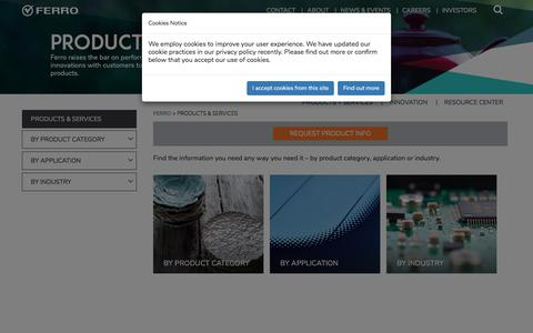 Screenshot of Products Page ferro.com - Products & Services - captured Sept. 23, 2018