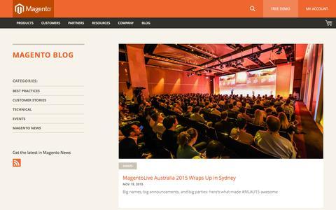Screenshot of Blog magento.com - Magento eCommerce Blog | Magento - captured Nov. 21, 2015